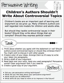 Persuasive Argument - Should Children's Authors Write About Controversial Topics