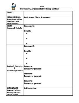Persuasive / Argumentative Writing Outline, Student Sample