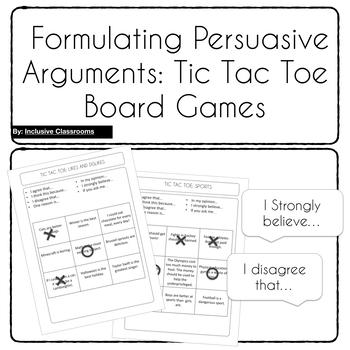 Formulating Persuasive Arguments - Tic Tac Toe Board Games