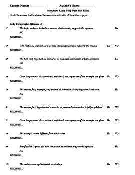 Persuasive Body Paragraph Peer Edit