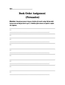 Persuasive Book Order Assignment