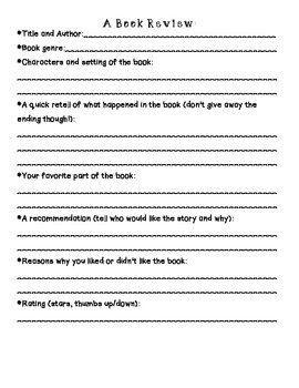 Persuasive Book Review Planning Sheet