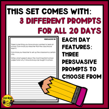 Daily Persuasive Writing Prompts - Set 1