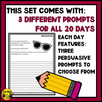 Daily Persuasive Writing Prompts - Set 2