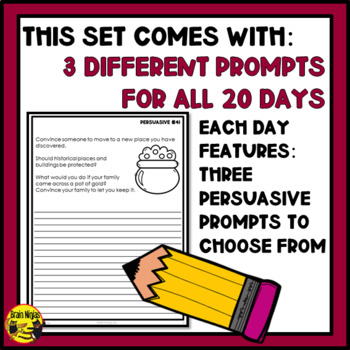 Daily Persuasive Writing Prompts - Set 3