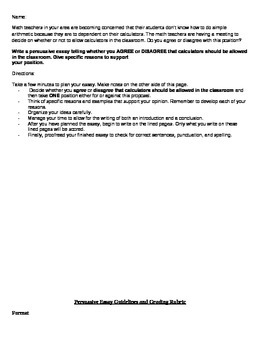 Persuasive Essay 2 with Rubric