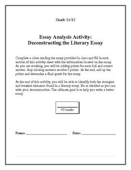Persuasive Essay Analysis Activity
