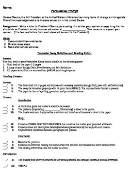 Persuasive Essay Assignment and Rubric