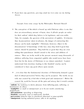 Persuasive Essay - Bertrand Russell and Jonathan Edwards