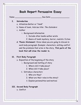 Persuasive Essay Book Report - 5 Paragraph Essay