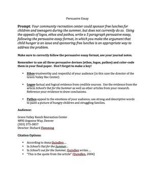 Persuasive Essay: Child Hunger