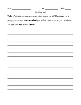 Persuasive Essay Cold Write With or Without Scaffolding
