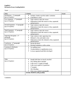 rubric for grading an essay