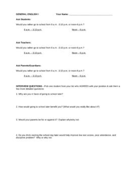 Persuasive Essay Lesson Prompt & Outline Later School Day