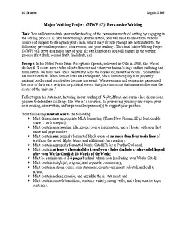 Persuasive Essay Major Writing Project (MWP)