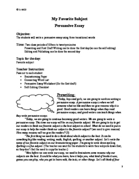 Persuasive Essay: My Favorite Subject