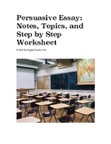 Persuasive Essay: Notes, Topics, and Step by Step worksheet