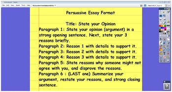 Persuasive Essay Opinion Writing for Common Core Writing Objectives Flipchart