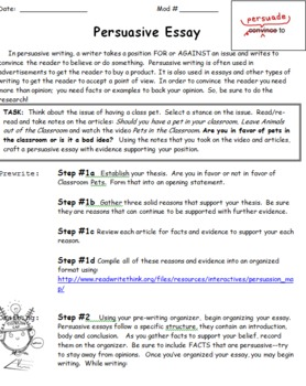 Persuasive Essay Organizer and Rubric