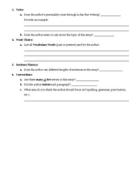 Persuasive Essay Peer Check