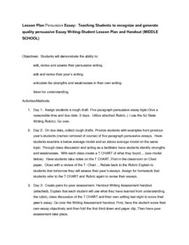 Persuasive Essay - Peer and Student Assessment