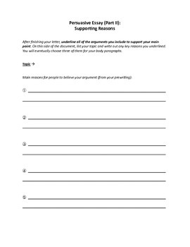 Persuasive Essay Prewriting Activity
