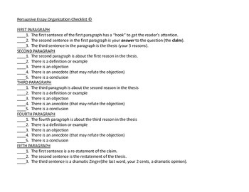Persuasive Essay Quick Reference Guide to Organization