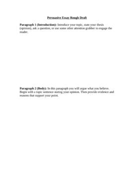 Persuasive Essay Rough Draft Form