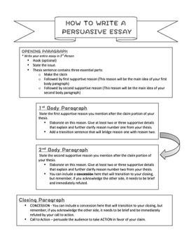 Persuasive Essay STAAR Formatted