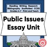 Public Issues Persuasive Essay Unit Scaffolded CCSS Grades