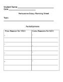 Persuasive Essay Template Outline - Opinion Essay - Editable