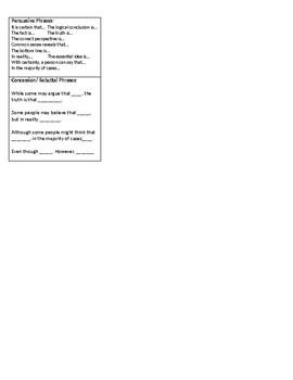 Persuasive Essay Toolbox Sheet