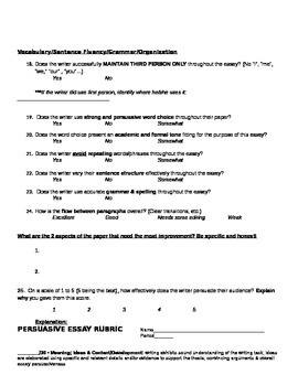 Persuasive Essay Unit w/ Prewriting, Outline, Peer Review Form, & Grading Rubric