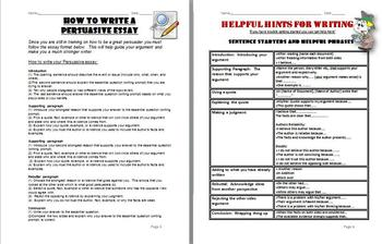 Persuasive Writing:  Writing Skills for Students!  Template for Many Topics!