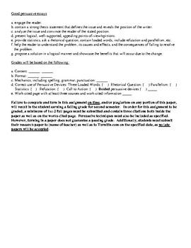 Persuasive Essay or Persuasive Research Prompt