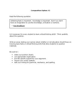 Persuasive Essays for Fahrenheit 451 : STAAR format