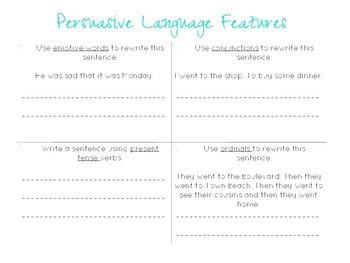 Persuasive Language Features Activity