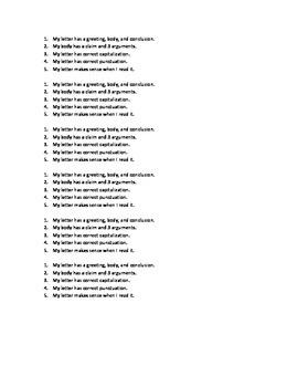 Persuasive Letter Checklist