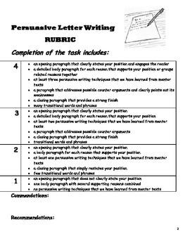 Persuasive Letter Grade 4 Common Core Task & Rubric