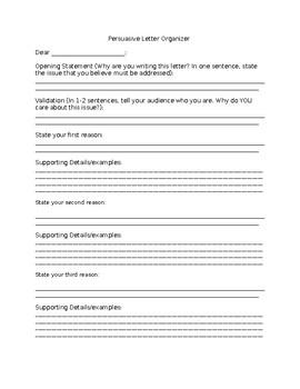 Persuasive Letter Organizer