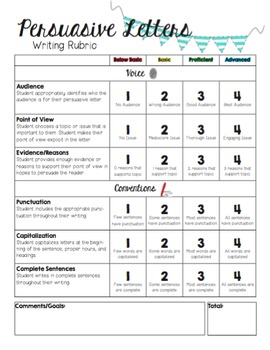 persuasive letter rubric by sailing through 2nd grade tpt. Black Bedroom Furniture Sets. Home Design Ideas
