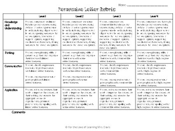 thank you letter rubric