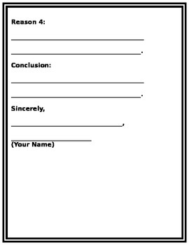 Persuasive Letter Writing Graphic Organizer