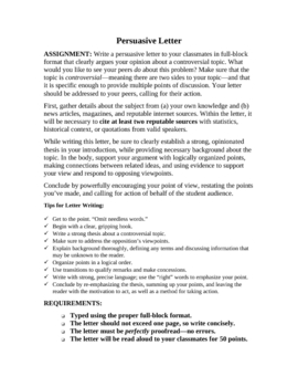 Persuasive Letter Writing Unit: Overview, Model, Assessment Forms
