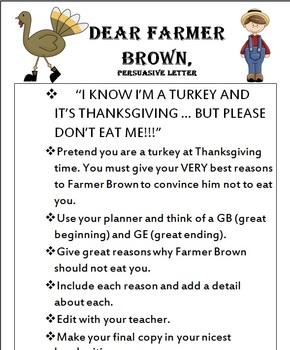 Persuasive Letter Writing for Thanksgiving