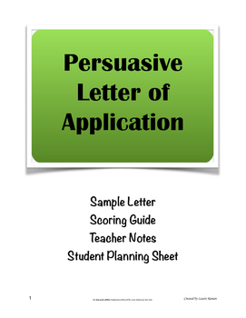 Letter of Application; Persuasive Writing; Business Letter