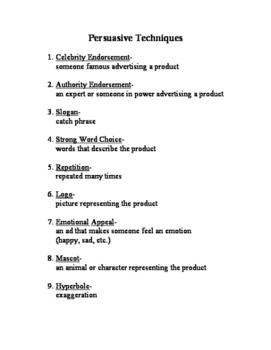 Persuasive Media Ad Analysis Unit