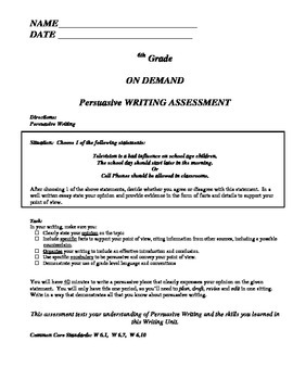 Persuasive Opinion Argument On Demand Writing Assessment