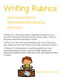 Persuasive/Opinion, Informational/Explanatory, & Narrative Writing Rubrics