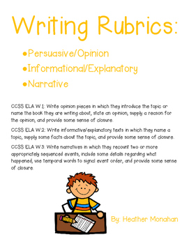 Persuasive/Opinion, Informational/Explanatory, & Narrative Writing Rubrics